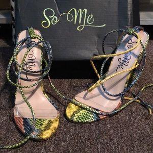 Fashion Nova Snake Multi heels with tie ankles